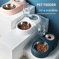 Миска для собак и кошек, питьевые фонтаны с автоматическим водяным выходом, кормушки с защитой от опрокидывания, пластиковая миска для корм...