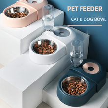 Dogs Cats Bowl Food Drinking Fountains with Automatic Water Outlet Anti-overturning Feeders Plastic Feeding Bowl Pet Accessories