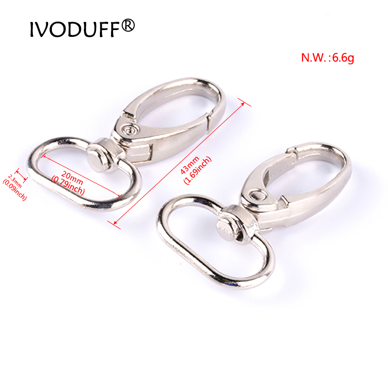 10pcs 20mm Snap Swivel Hook, Strap Zinc Alloy Metal Clasp For Making Bags