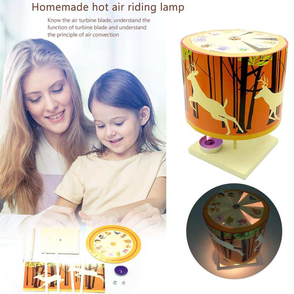 Children DIY Heat Air Merry-Go-Round Light Toy Exercise Practical Ability Color Cognition Learning Experiment Material Kits