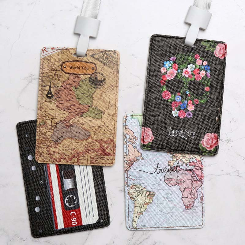 Creative World Map PU Name Credit Card Holders Women Men Bank Card Bag Neck Strap Bus ID Holders Identity Badge With Lanyard