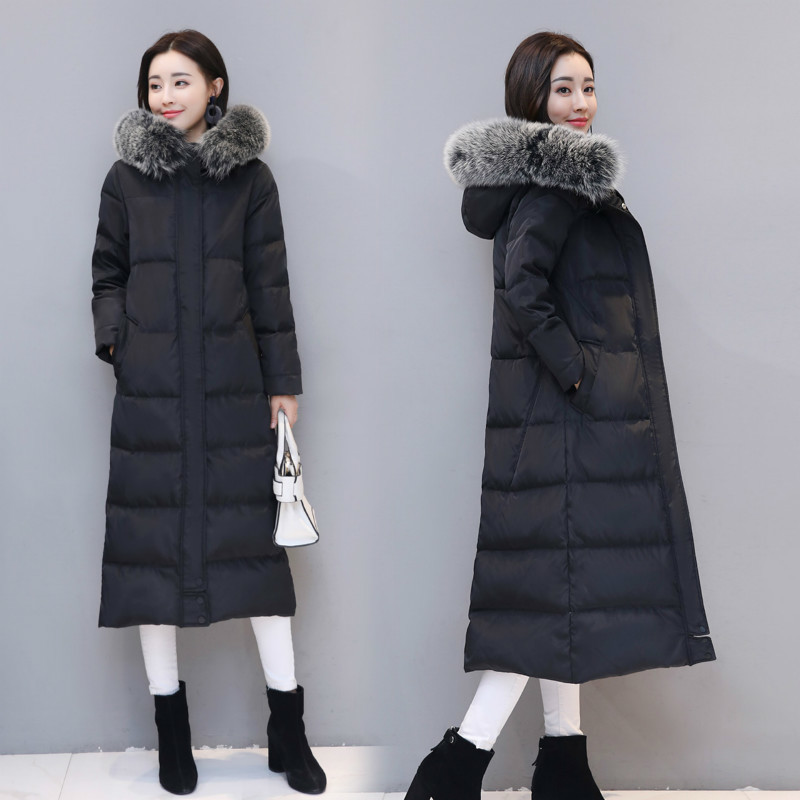 Thick Warm Women's Down Jacket With Large Fox Fur Hooded Korean Winter Duck Down Coat Male Ladies Long Coat Hiver LAN1011