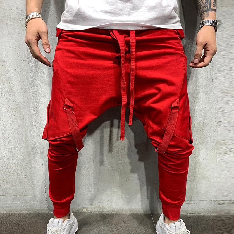 MJARTORIA Joggers Hip Hop Pants Men's Casual Pockets Trousers Mens Autumn Multicolor Sweatpants Fashion Overalls Trousers - Color: red