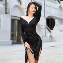 Latin Dance Skirt New Black Lace Fringe Skirt Women Practice Wear Sexy Latina Samba Salsa Dance Clothing Tassel Hip Scarf BL4687