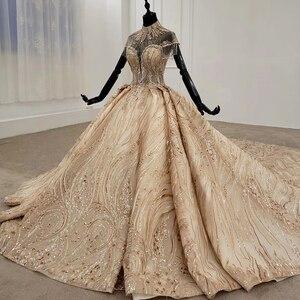 Image 3 - HTL1257 2020 ארוך שמלות הערב גבוה צוואר קצר שרוול ואגלי טאסל applique דובאי ערב שמלות платье на выпускной חדש