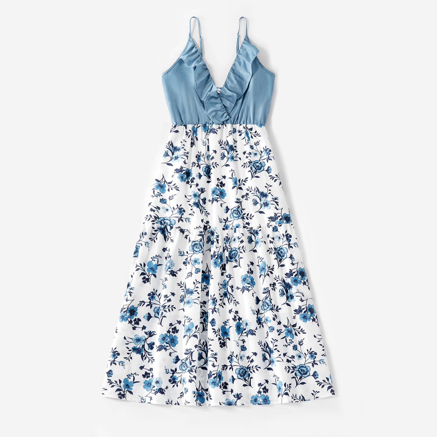 Summer Cotton Family Matching Onesies Floral Flounce Tank Dresses and Denim Tops Family Look Sets