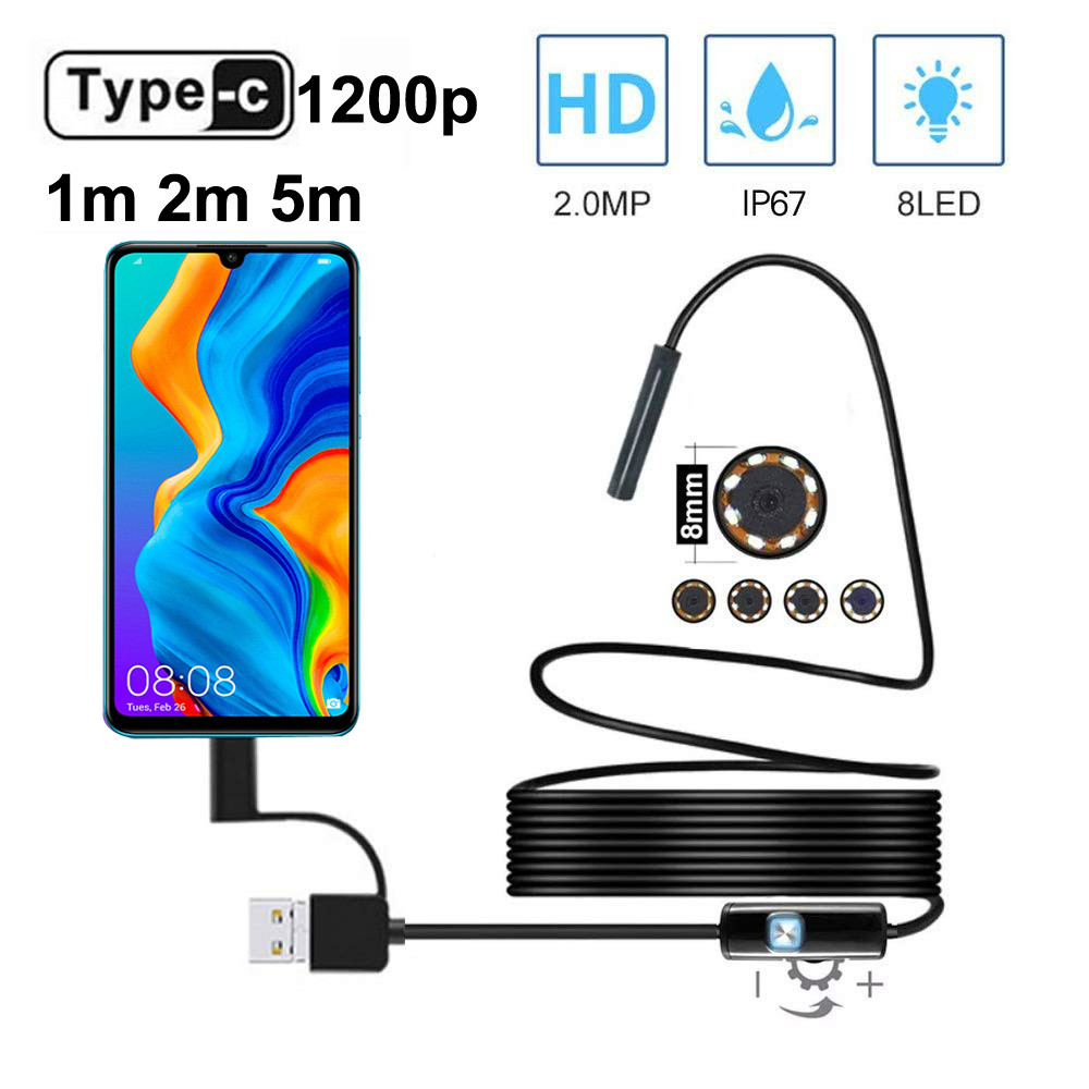 HD 1200P USB C Endoscope Semi Rigid Cable Waterproof 8mm Lens 8 Adjustable Led Light Endoscope Camera For Android Phone  amp PC