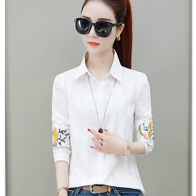 Flower Embroidery Women Spring Summer Style Chiffon Blouses Shirts Lady Casual Long Sleeve Chiffon Blusas Tops DF2995 1