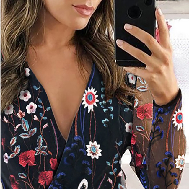 2021 Women's Chiffon Shirt Net Yarn Floral Embroidery Blouse Female Deep V-Neck Long-Sleeved Stitching Casual Women's Blouse 4