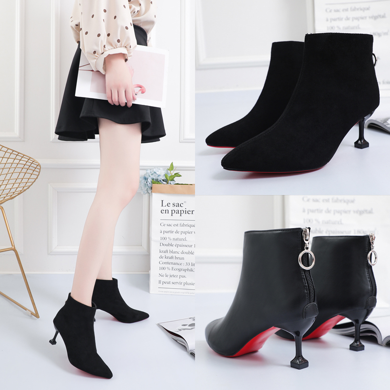 Red Sole  Shoes Ankle Boots Thin Heels Woman Dress Black Microfiber With Red Boots Pointy Toe PU Leather Ankle Bootie