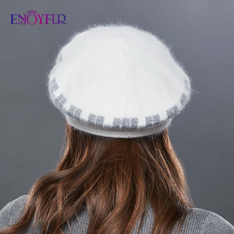 Image 4 - ENJOYFUR Rabbit Knitted Women's Hats Warm Thick Visors Cap For Winter High Quality Plaid Middle Aged Lady Caps Casual Hat Female-in Women's Skullies & Beanies from Apparel Accessories