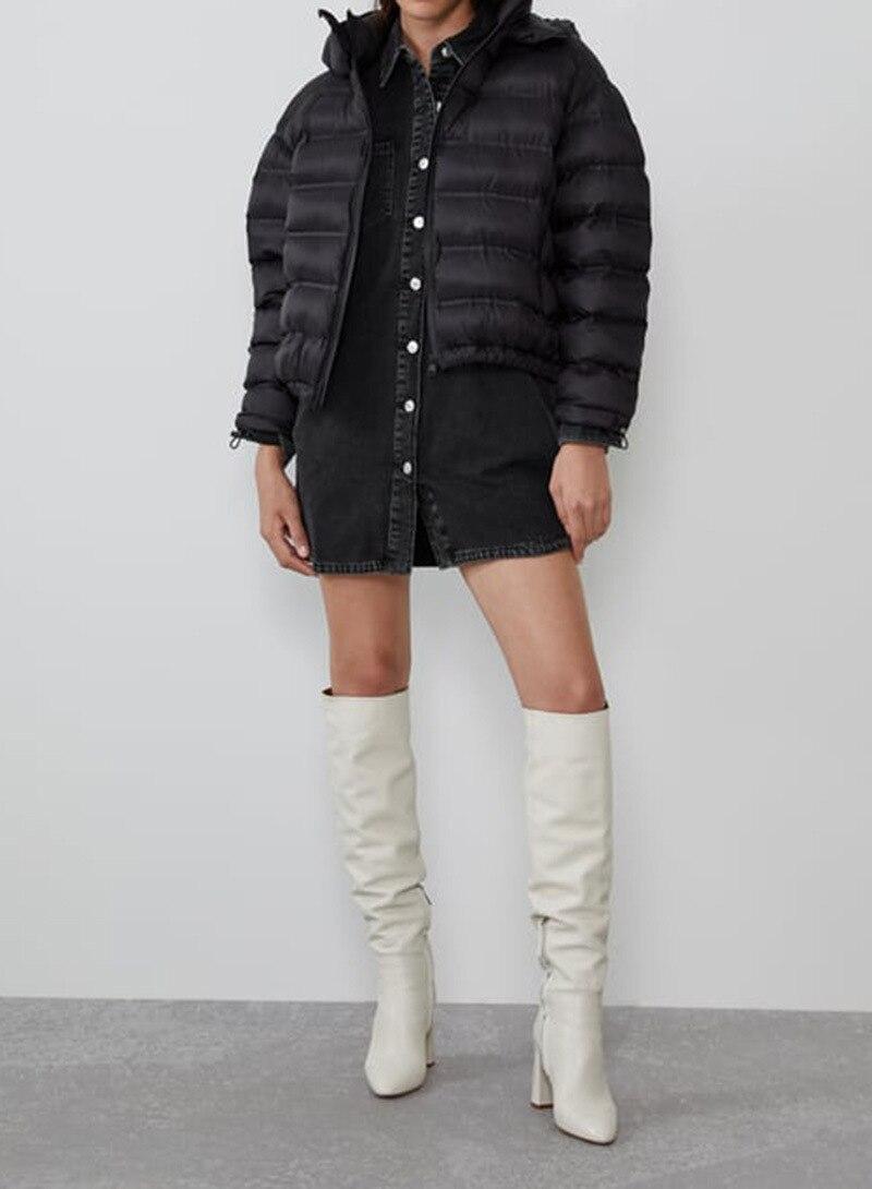 Осень зима 2019, новый стиль, Y, черно белая одежда с рисунком, с хлопковой подкладкой, с капюшоном, теплая, короткая, закрывающая края, теплая, комфортная - 2