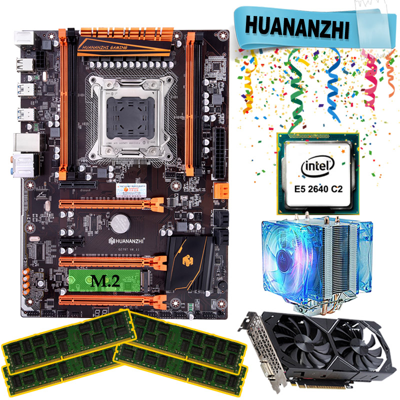 HUANANZHI X79 Deluxe Gaming Motherboard Set With Cooler E5 2640 RAM 64G DDR3 1333MHz RECC GTX1050ti 4G DDR5 Video Card