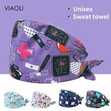Scrubs-Cap Work-Hats Wholesale Pet-Beauty Print Female Cartoon Cute Unisex Cotton Adjustable