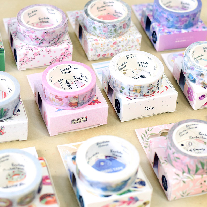 21 Design Japanese Paper Washi Tape Donuts Forest Animal Flamingo Water Color 15mm Adhesive Masking Tapes DIY Stickers F377