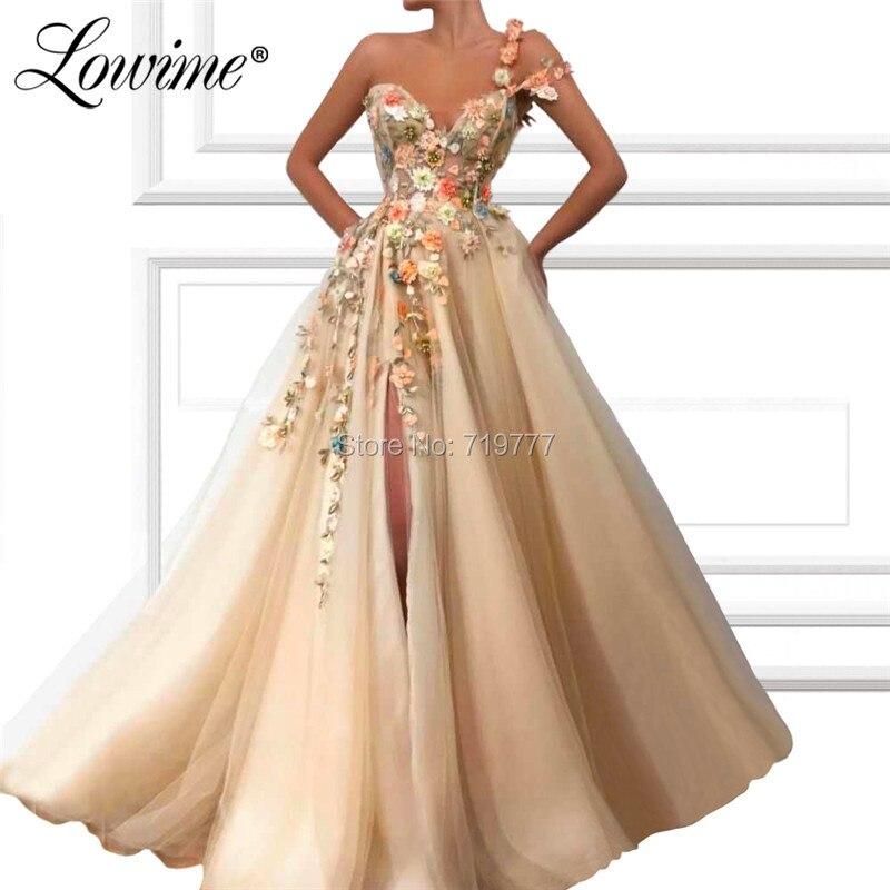 Une épaule Sexy Robe De soirée à la main fleurs arabe longue perlée Robe De soirée une ligne robes De bal Robe De soirée 2019 personnalisé