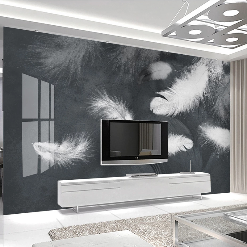 Modern White Feather Art Photo Wallpaper For Living Room Bedroom Background Wall Waterproof Home Decor Fresco Wall Cloth Mural
