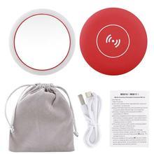 Портативный светодиодный мини-круговое компактное зеркальце для макияжа и путешествий, косметическое зеркало с беспроводной зарядкой от usb