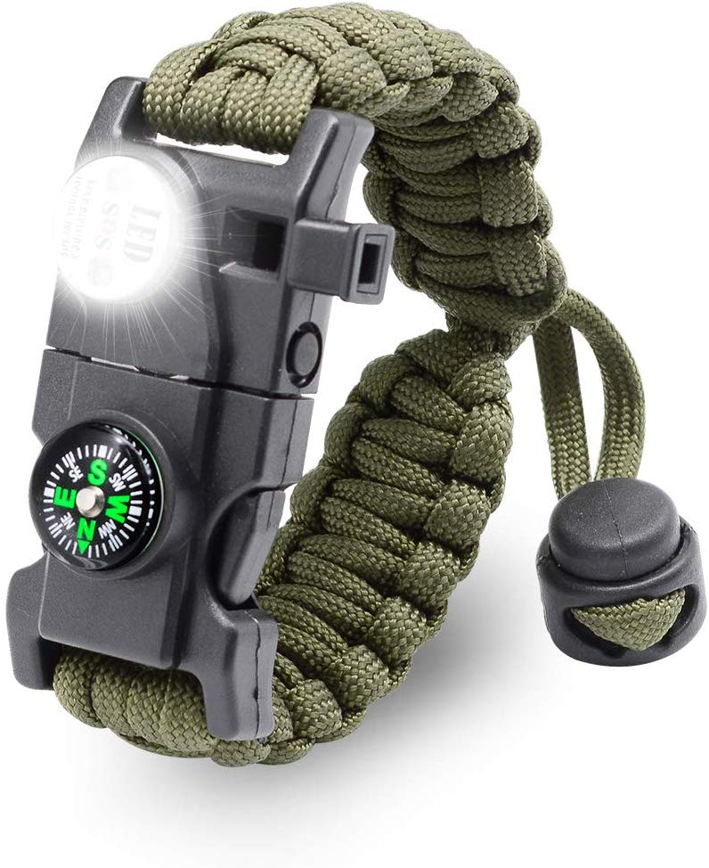 Survival Bracelet Paracord With SOS Lamp Compass Whistle Knife Outdoor for Men Women Camping Tourism SOS Emergency Kit (54)