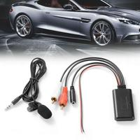 Car Bluetooth 2RCA AUX Adapter Wireless Audio Phone Audio Input Call Handsfree AUX-IN with 2RCA For Stereo Microphone W0K8