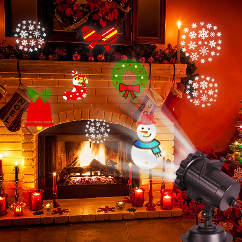 Christmas Projector Lights 6 Switchable Patterns Slides Landscape Motion Projector Lights With Remote Control 16.4ft Power Cable