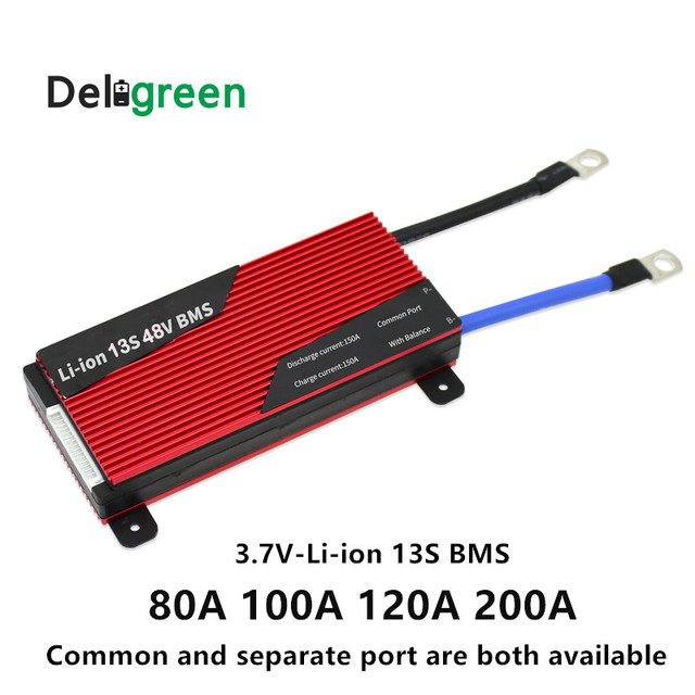 13S 80A 100A 120A 150A 200A 250A 48V PCM PCB BMS for 3.7V LiNCM battery pack DIY18650 Lithion Battery Pack with balanceDeligreen