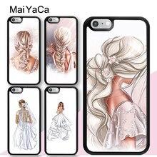 Coque arrière de robe de mariée pour filles, avec croquis imprimé à la mode, pour iPhone 12 mini 11 Pro Max X XR XS MAX SE 2020 6S 7 8 Plus 5s