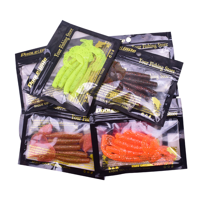 5pcs/Lot Curly Worm Soft Bait Jig Wobbler Fishing Lures 8cm 4.3g  Smell With Salt Artificial Silicone Swimbait Bass Carp Tackle 3