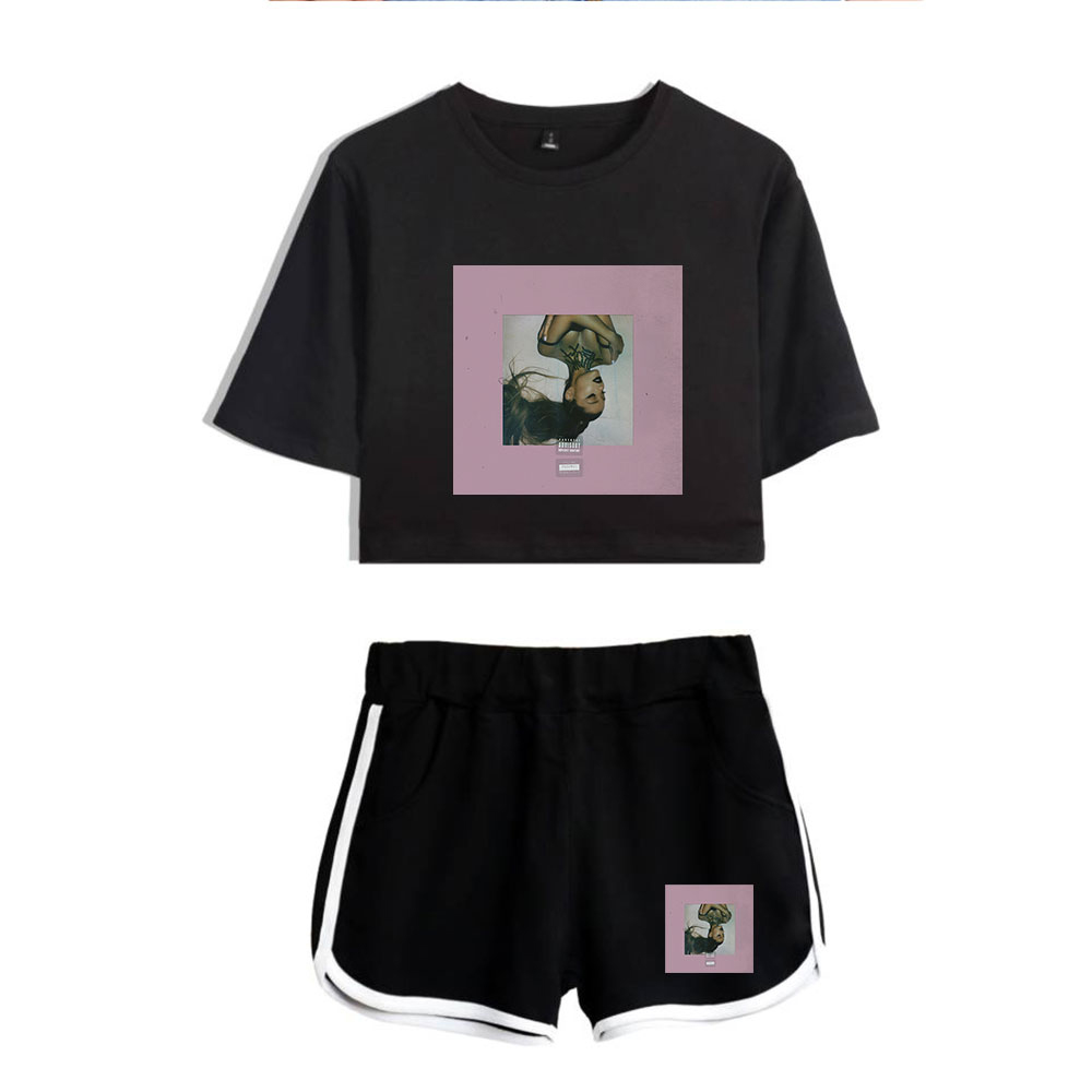 Ariana Grande Thank You Next Women Fashion Harajuku Two Piece Sets Summer Personality New Album T-shirt And Short Pants Sets