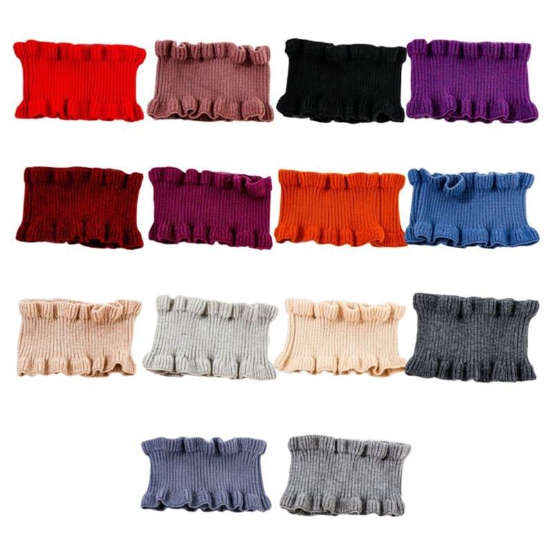 Women Girls Multifunctional Hair Band Winter High Neck Warmer Ribbed Knit Ruffles Trim Solid Color Loop Decorative Fake Collar