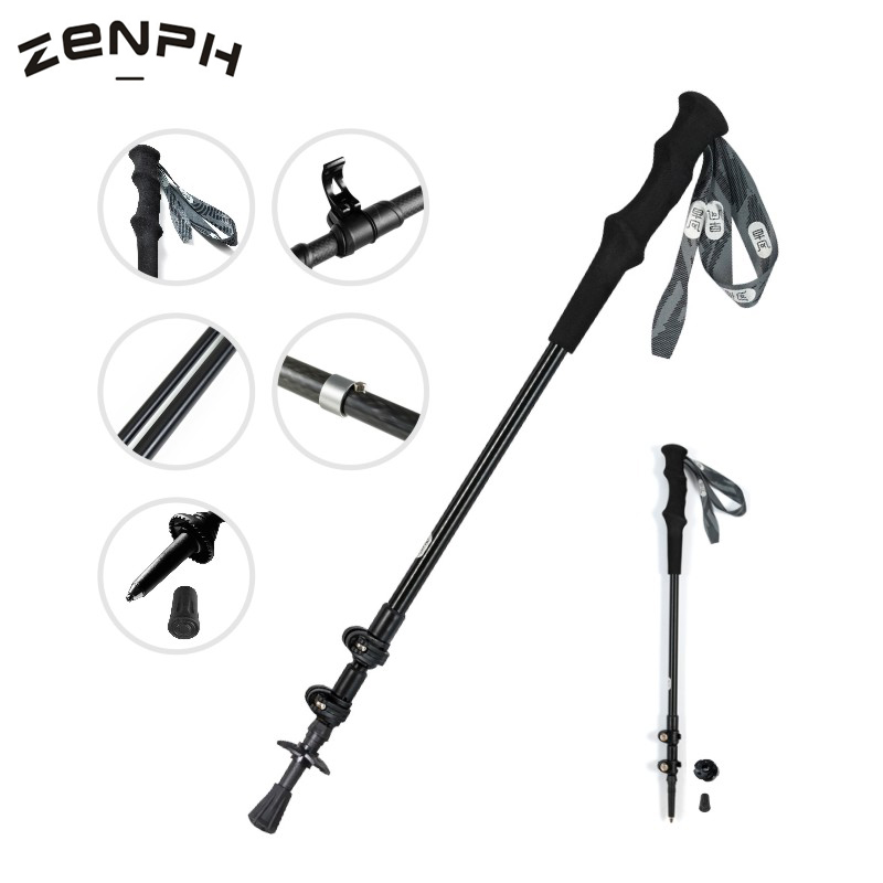 Zenph Carbon Fiber Trekking Pole Outdoor 3 Sections Folding Telescopic Walking Stick Camping Hiking Equipment 135cm
