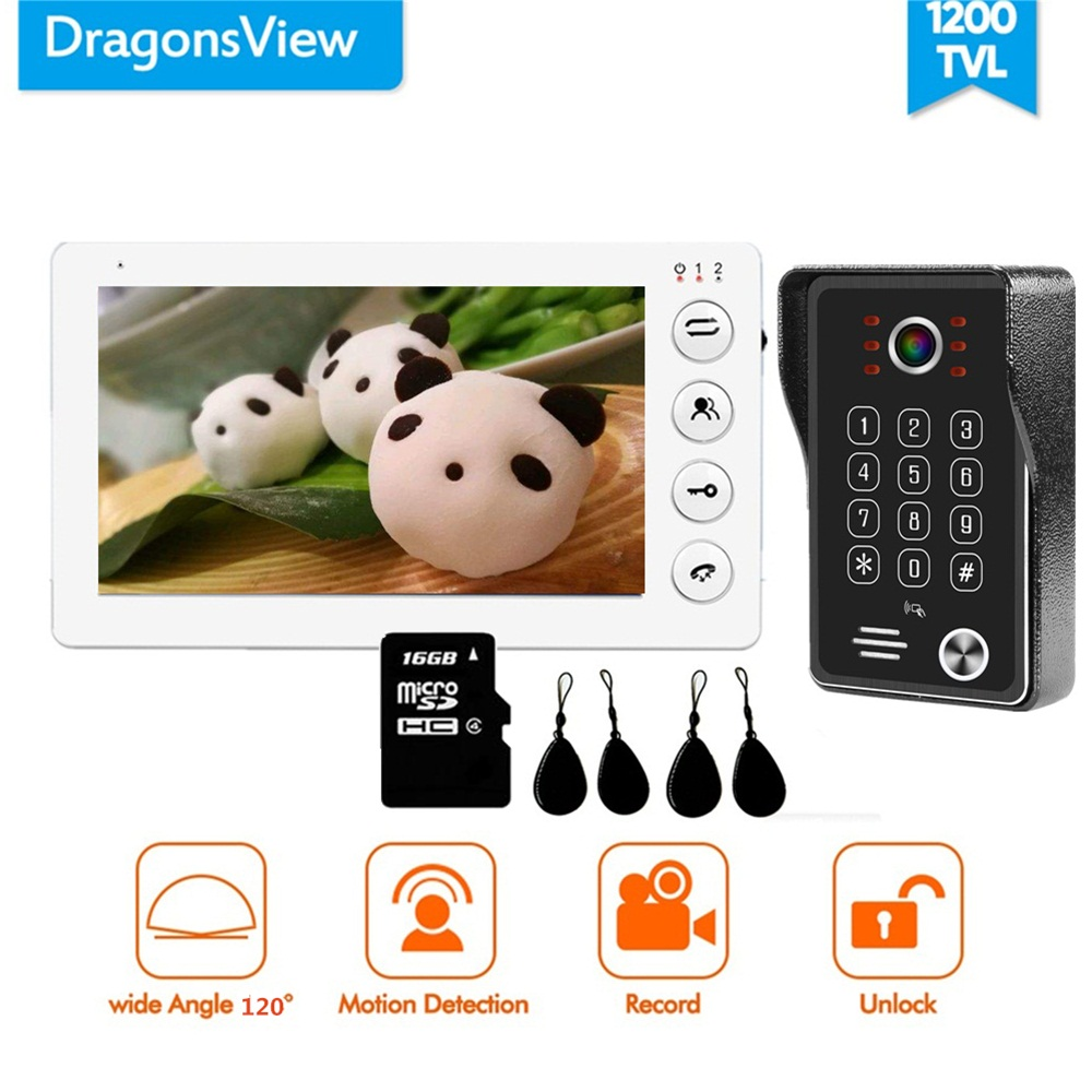 Dragonsview 7 Inch Video Intercom RFID Door Access Control System Video DoorPhone Doorbell Camera Unlock Password IC Card Record