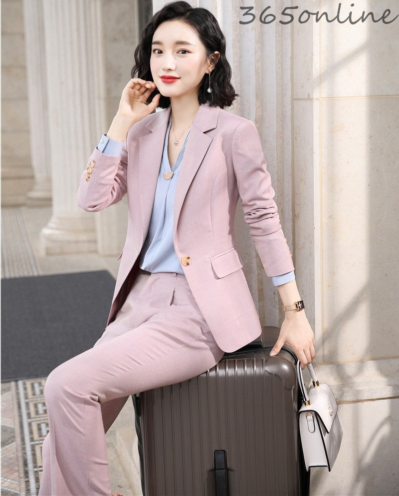 High Quality Fabric Formal Women Business Suits Pants And Jackets Coat OL Styles Autumn Winter Professional Blazers Pantsuits