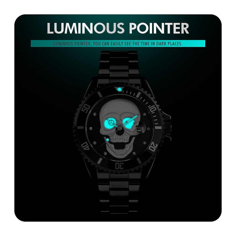 SKMEI Quartz montres hommes mode crâne cadran hommes montre 30M étanche Date montre-bracelet homme acier inoxydable bracelet reloj hombre 9195