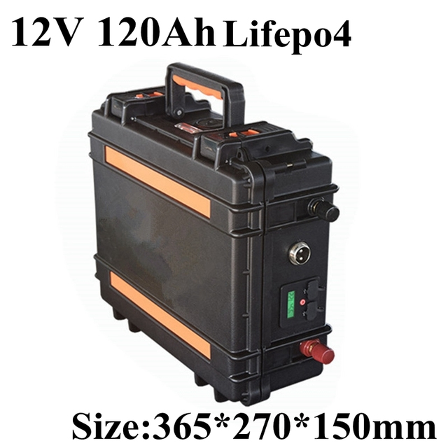 High Discharge Current 12V 120AH Lifepo4 Battery Pack for Motor Boat Solar Energy Yacht Suitcase Handle BMS + 10A Charger