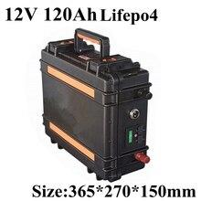 Hoge Ontlaadstroom 12V 120AH Lifepo4 Batterij Pack voor Motor Boot Zonne energie Jacht Koffer Handvat BMS + 10A lader