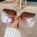 2020 neue Mode Super Großen Gradienten Sonnenbrille Damen Retro Legierung Kette Rahmen Niet Quadrat Sonnenbrille Elegante Damen Brille
