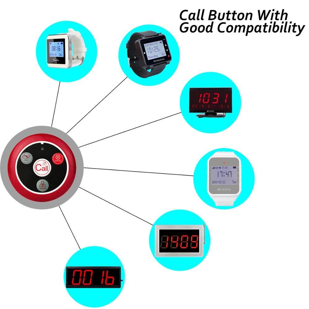 10pcs T117 433MHz Restaurant Pager Wireless Waiter Calling System Call Button Pager Four-key Restaurant Equipments Catering