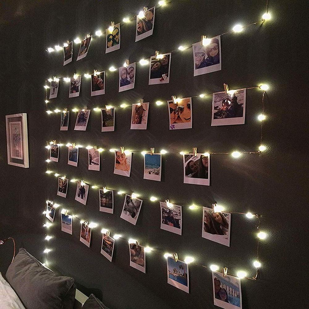 Clipe de luz led string para pendurar fotos luzes lanterna imagem luzes 10 m para festa internet celebridade quarto decoração da lâmpada