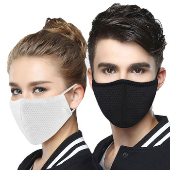 Summer Fabric Face Mask Reusable Protective Anti Dust Masks mascaras With 2pcs Filter Black mouth covers for Adult Kids Child