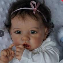 22 polegada renascer bebê menina 55 cm boneca Saskia criança realista real toque bonecas brinquedos para meninas 3 anos crianças