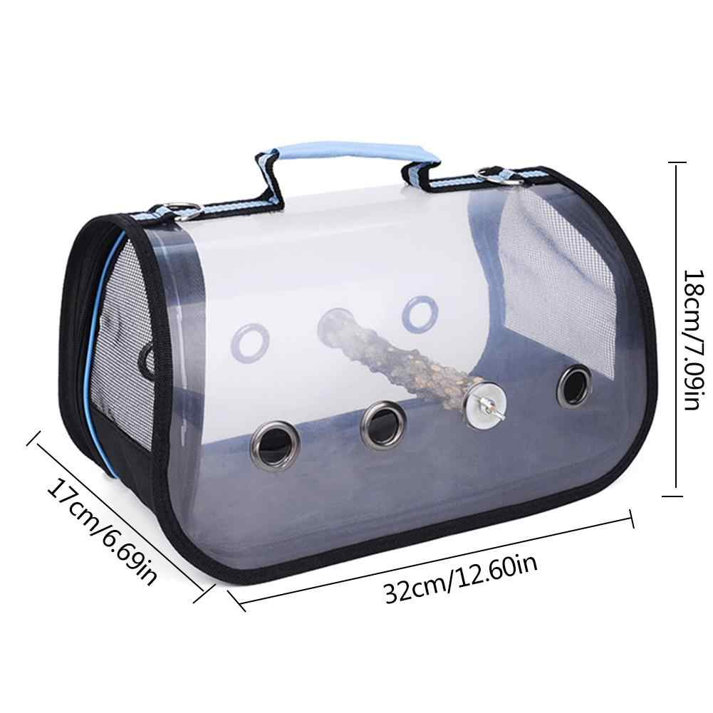 Guer Bird Carrier Transparent Handbag With Shoulder Strap Multifunction Lightweight Parrot Cage Double Zipper king Outdoor Camping Breathable Portable Travel sy Install Pet Supplies Blue