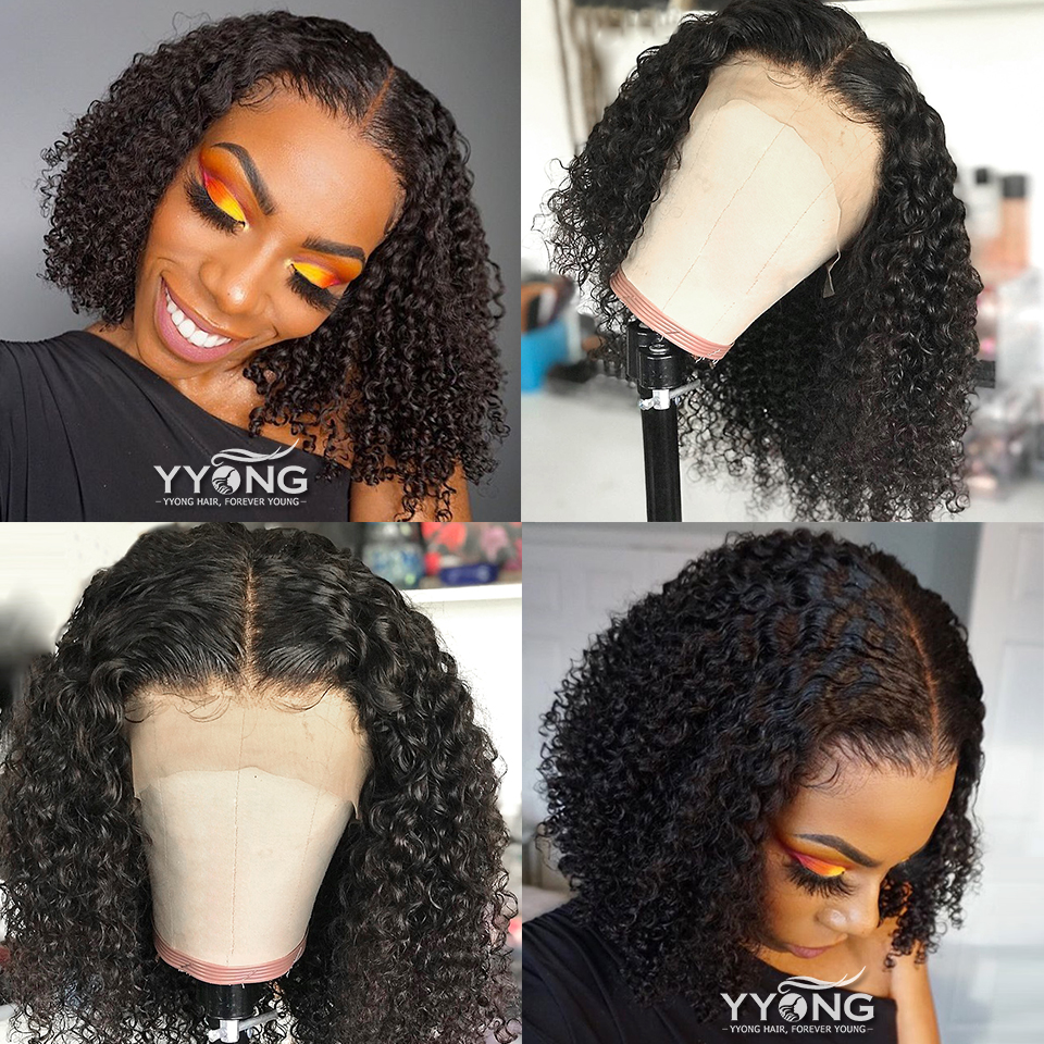 YYong 4x4 Lace Closure Bob Wig Kinky Curly 13x4 Lace Front  Wigs Jerry Curl Short Bob Wig Natural Hairline 150% 2