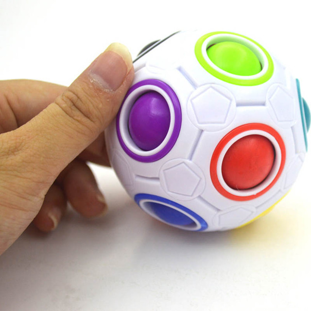 Creative Funny Antistress Figet Toy Adult Stress Reliever Rainbow 3D Magic Ball Football Cube Puzzle Kids Color Educational Toys 3