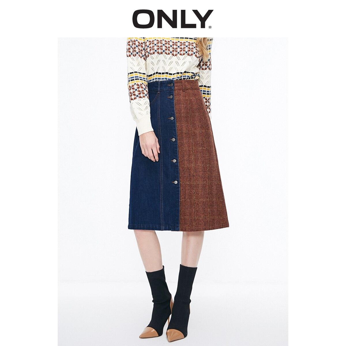 ONLY Women's High-rise Spliced Checks A-lined Denim Skirt | 119137505