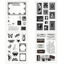 Insect Postcard Clear Stamps Retro Ticket Character Transparent Silicone for DIY Scrapbooking Card Making New Craft Decor