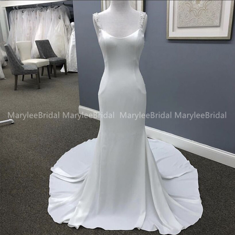 2020 New Arrival Mermaid Wedding Dress Square Collar Sexy Bridal Gown Backless With Chapel Train Beaded Vestido De Noiva Simple