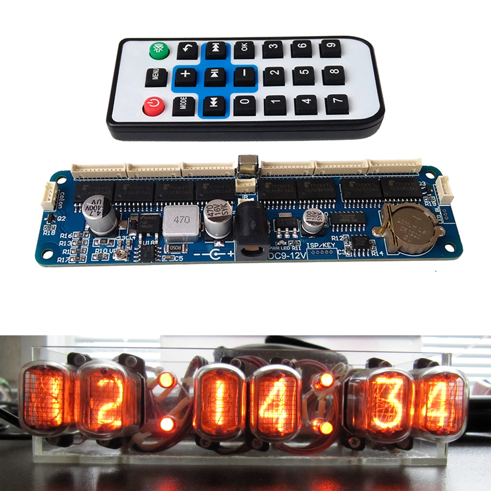 6-bit Glow Clock Motherboard Core Board Control Panel Remote Control Universal In12 In14 In18 Qs30-1 Controller Dc 9V-12V