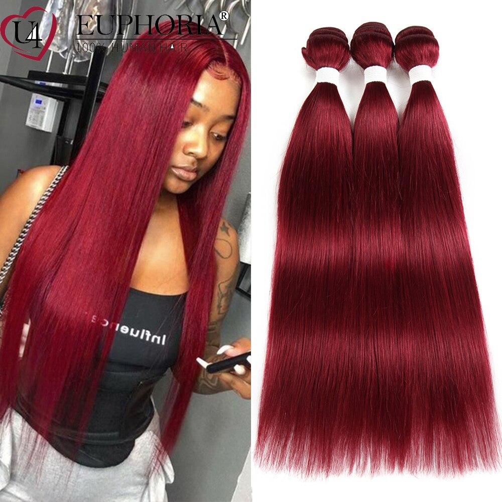 Pacotes de cabelo reto acordo 1/3 pçs 99j burg vermelho 4 cor natural brasileiro remy extensão do cabelo humano pacotes cabelo tecelagem euforia