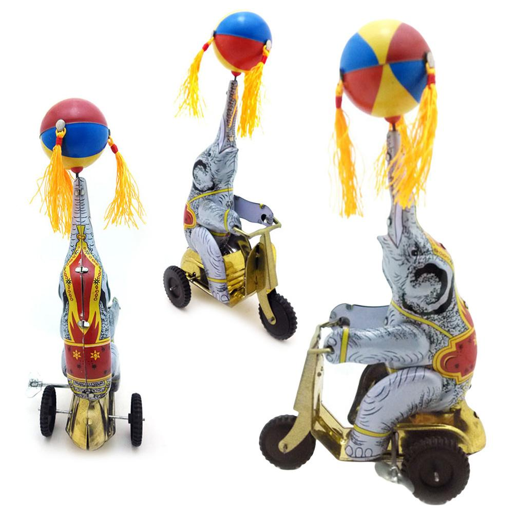 Vintage Iron Cycling Elephant Wind up Clockwork Table Ornament Kids Toy Gift  Classic Wind Up Clockwork Tin Toy Classic Toys